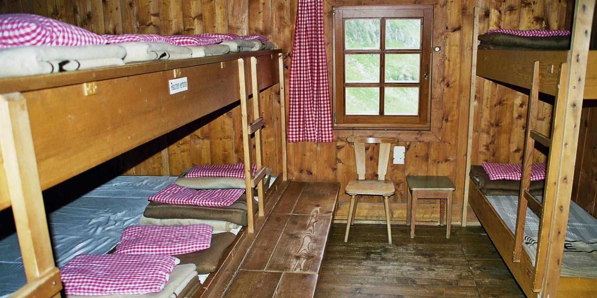 Elberfelder Hütte Lager Roter Knopf Ausstattung