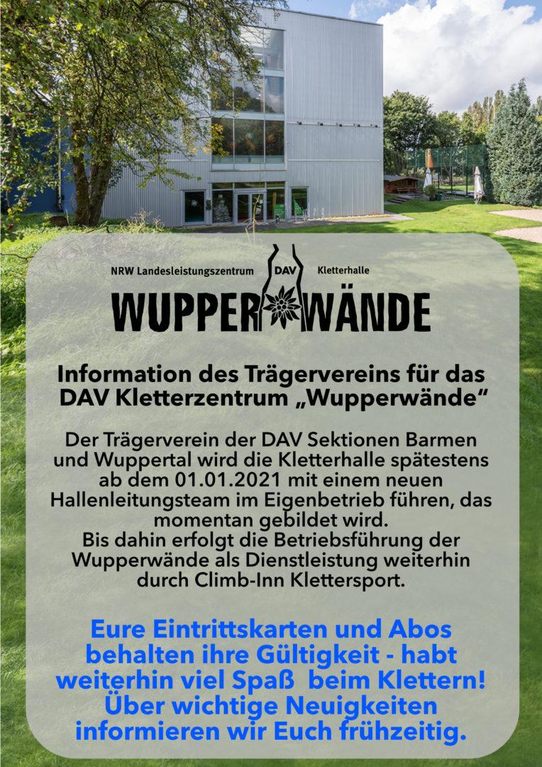 Wupperwände Information Betriebsführung